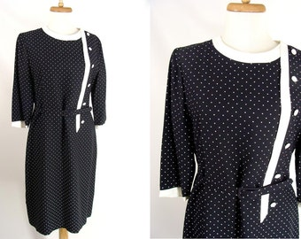TEMPORARILY REDUCED was 45.00 vintage 50s 60s Black & White Fall Office Secretary Dress Mad Men Joan M Acetate and Rayon