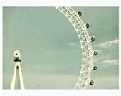 London-eye, London photography, pastel blue sky, big ferries wheel - 5x7 print, shabby shic wall decor, simple, mint green