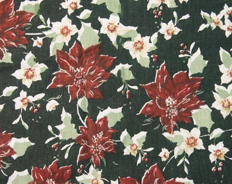 Vintage 1970s fabric in highquality unused cotton with green/ vinered printed flower/ leafes pattern on black bottomcolor