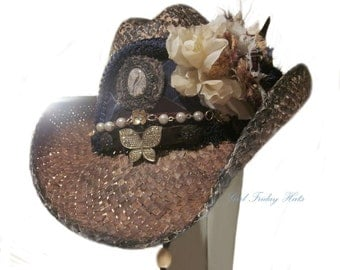 Romantic Gypsy Cowgirl Hat.  Flowers and feathers Cowgirl Hat