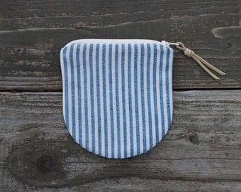Blue & White Ticking Striped Zip Pouch / Coin Purse