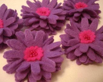 Set of 5pcs handmade felt Daisy - purple/hotpink (DA)