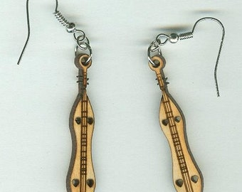 FREE SHIPPING - Dulcimer Earrings - Laser Cut Wood (ER-009)