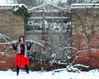 red and black adjustable parachute skirt steampunk skirt. one of a kind OOAK