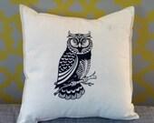 Black Owl Screenprinted Pillow Cover