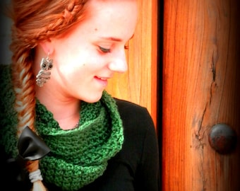 Crocheted Infinity Scarf - Dark Sage