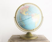 "Vintage Crams Globe Imperial 12"" Turquoise MulitColor Back to School Fall Teachers Home School"