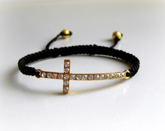 Trendy Gold Dazzling Rhinestone Skinny Cross Macrame Adjustable Bracelet Charm Bracelet