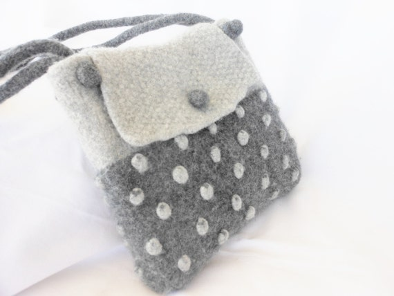 Two tone gray Hand Knit Felted Wool Handbag  Fiber Art purse with bobbles