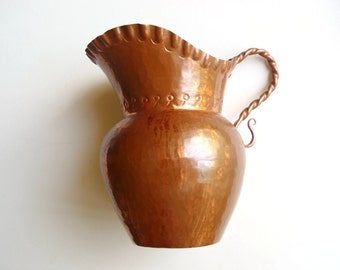 Vintage Small Copper Pitcher or Vase: Handcrafted Decorative Ewer, Oinachoe Form with Twisted Handle, Hammered Arts and Crafts Style