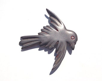 Vintage Large Flying Bird with Spread Wings Pin Brooch: Primitive Pot Metal or Pewter Jewelry - Dull Gray Color Rustic Look of Old Pewter