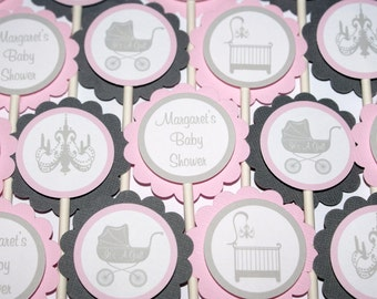 Carriage Baby Shower Cupcake Toppers (24)  - Pink, White & Gray by The Party Paper Fairy