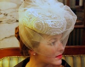 Wedding hat, or special occasion, cream, ivory, gold pillbox