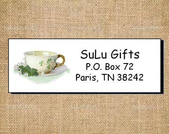 SALE Irish Shamrock Four Leaf Clover Teacups Personalized Address Labels Elegant and Classy Designs