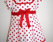 Custom Listing for Lindsey:  Red Polka Dot Dress, Inspired by Shirley Temple, Girls Red and White Dress, Size 6 months- 5T