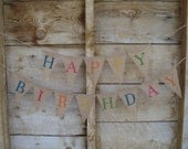 Happy Birthday Burlap Banner in the Medium sized pennant