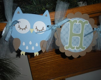 Owl Banner, Happy Birthday Owl Banner, Boy Blue Brown Owl Banner,  Photo Prop Matching Tissue Pom Poms Available