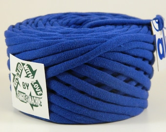 Recycled T-Shirt Yarn, Blue 29.5 Yrds T Shirt Yarn, Bulky Tarn