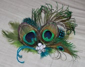Natural Peacock Sword Feathers with Olive Green and Spotted Turquoise Feathers Boutique Hair Clip Fascinator Photp Prop