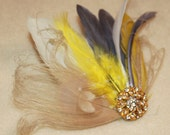 Champagne Bleached Ivory Peacock, Yellow, Gray Feather Boutique Hair Clip Bridal Fascinator w Rhinestone accents Photp Prop