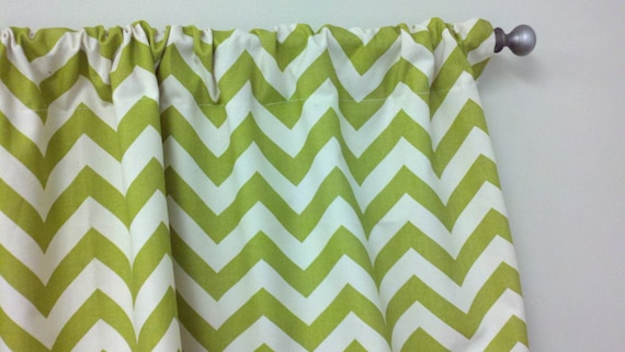 Custom Window Valance 50wx15L Curtain Trendy Home Decor in Beautiful Village Green and Ivory Zigzag Chevron