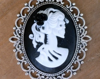 Victorian Steampunk Sugar Skull skeleton necklace Zombie Day of the dead pendant charm gothic lolita cameo L2