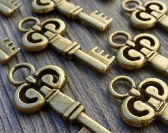 Wholesale Lot 10pcs Steampunk Victorian wholesale antique bronze skeleton key pendant charm necklace Alice in Wonderland 117  jewelry
