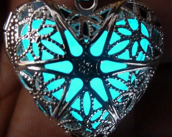 Steampunk  necklace locket Victorian gothic lolita pendant charm GLOW in the dark jewelry with Fairy Angel magical mystical powder -Aqua-sil