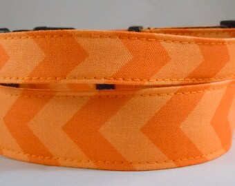 Dog Collar, Martingale Collar, Cat Collar - All Sizes  - Orange Chevron
