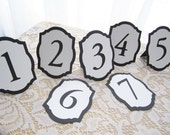 "Mini 4"" Flat or Freestanding Wedding Table Numbers in Black and White - Choose Your Colors"