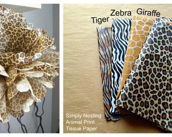 1 Animal Print Pom Pom...Tissue Paper Pom Pom, Choose Tiger, Giraffe, Zebra or Leopard