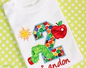 The VERY HUNGRY CATERPILLAR 1st 2nd 3rd 4th 5th Birthday party personalized Custom monogrammed child's T-Shirt appliqued