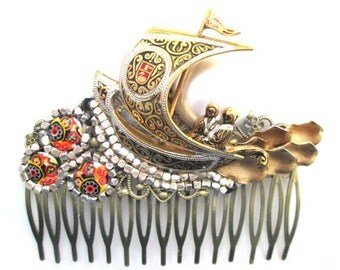 Bridal Hair Comb Jewelled Hairpiece  New Years Eve Jewelry Accessories Black Gold Repurposed Vintage Jewelry
