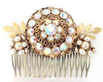 Bridal Hair Comb Hair Piece Rhinestone Hairpin Wedding Accessories Facinator Vintage Collage Crystal Glass Gold
