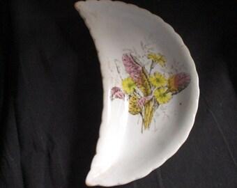 Vintage 1800s Bone Dish Porcelaine Opaque Primrose Flowers Pink Yellow Bridgwood & Son England