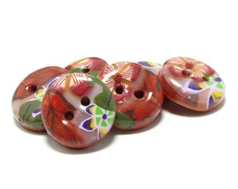 Polymer clay buttons - Four seasons, Autumn. Small, set of six