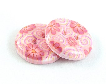 Polymer clay buttons - Four seasons, Spring. Large, set of two