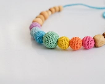 Aqua Simple Rainbow Nursing Necklace / Crochet Teething Necklace, Mama Jewelry Handmade Wood - KangarooCare