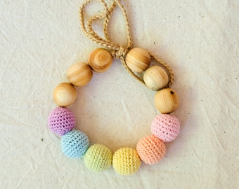 Neutral Rainbow Wooden Teething Bracelet - KangarooCare - juniper wood