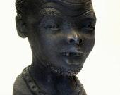 Vintage African Terracotta Sculptural Bust Signed FLORA