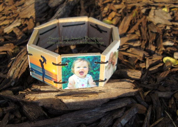 Custom Wooden Photo Bracelet  ~personalized jewelry