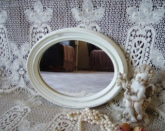 Shabby French Country Cottage Oval Mirror, Petite, creamy white, distressed, chippy