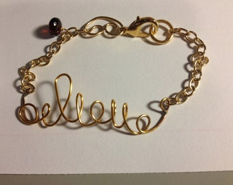 """Gold plated """"beleive"""" Bracelet, Etsy Jewelry, Lilyb444, GOLD FILL components"""