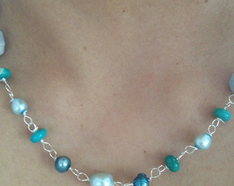 MADE to order Blue Teal Aquamarine,Sleeping Beauty, Freshwater Pearl, Apatite, Silver necklace, Etsy jewelry, Lilyb444