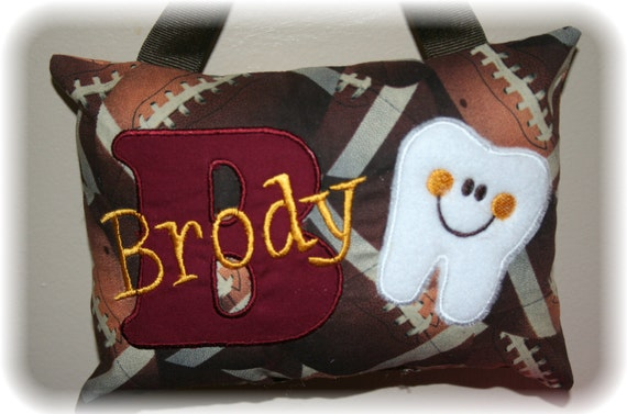 Tooth Fairy Pillow for Boys - Personalized Gift - Football - NFL