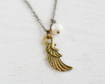 Tiny Angel Wing Necklace,Petite Angel Wing,Remembrance Jewelry,Everyday Jewelry,Steampunk Style Wing Charm Necklace,Gift for Mom,Daughter