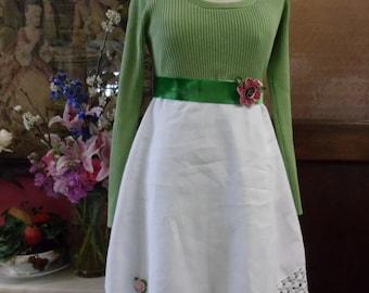 SALE,WAS 85.00,Green Top, Vintage Linen Skirt,Dress,Velvet Belt with Vintage Zipper Flower,Upcycled,Eco Friendly