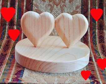 DIY WEDDING CAKE Topper - Etsy Wedding - Two Hearts - Hand Carved from One Piece of Wood- Ready to Finish Your Way