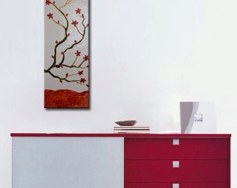 Abstract tree painting, Zen painting, Red Cherry Flowers, Large Zen Abstract, Flowers Blossom, Gold Tree Painting, Thick Texture
