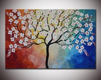 Original Landscape, Impasto Flowers, Impasto Textured Large Painting, White Tree Blossom, rainbow painting, whimsical art wall art